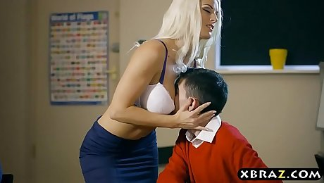 Hot MILF teacher double penetration by two young students